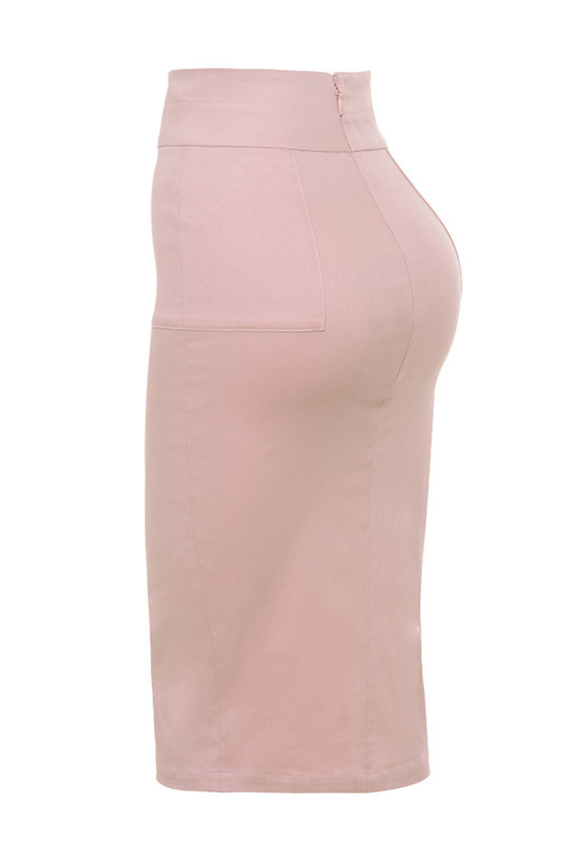 Stretch Canvas Pencil Skirt