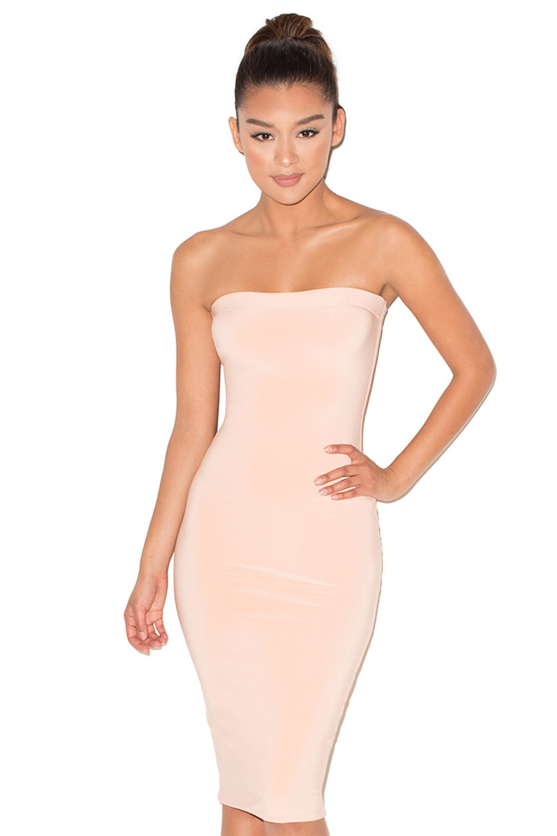 Wow-Wee Peach Smooth Stretch Strapless Dress