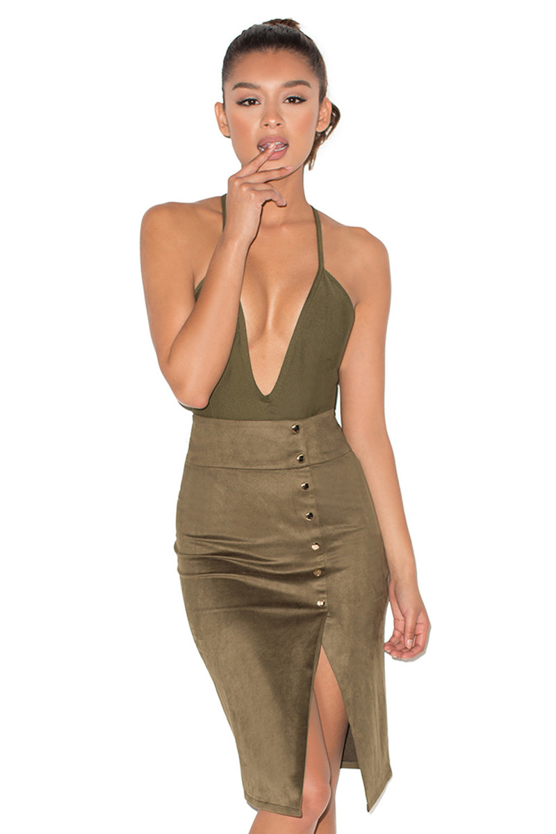 All Shook Up Khaki Suedette Thigh Split Pencil Skirt