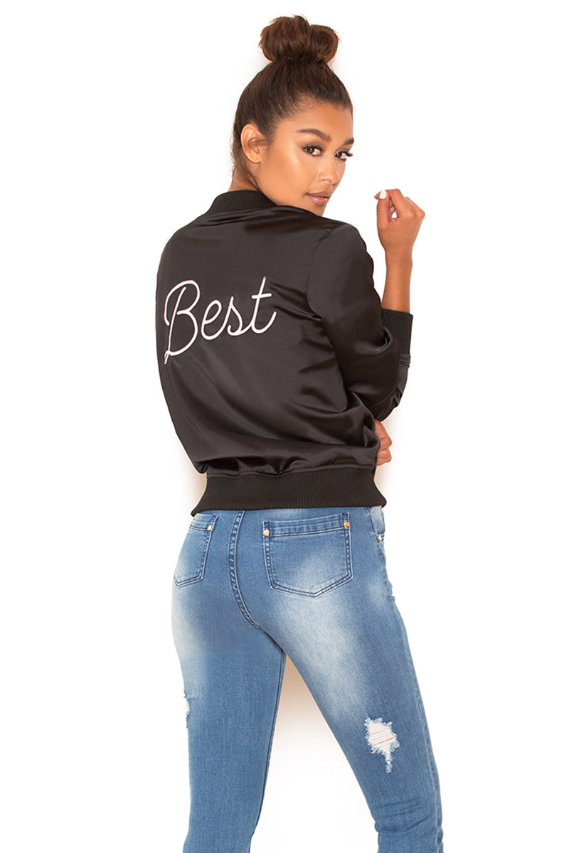 Best Black Satin Bomber Jacket