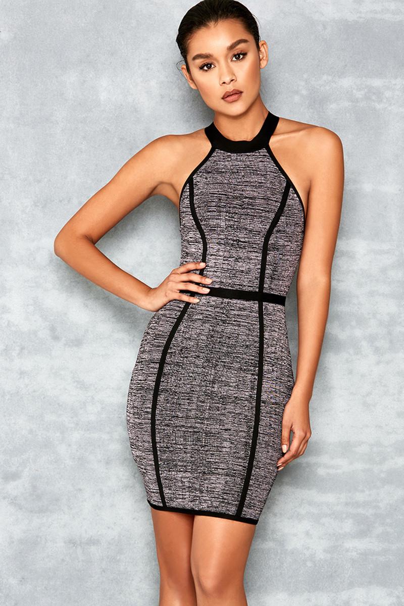 Chilling Grey and Black Halter Backless Bandage Dress