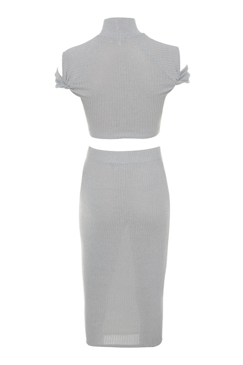 fallen dress in grey