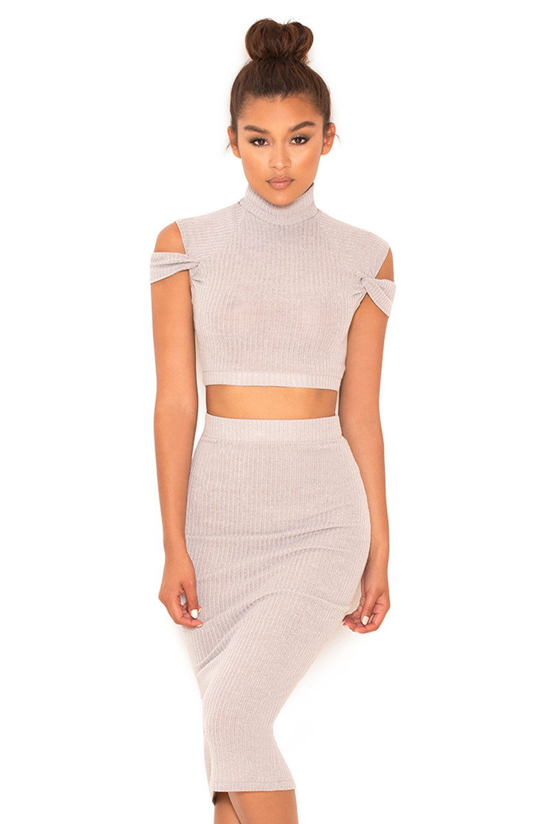 Fallen Grey Rib Knit Cold Shoulder Two Piece