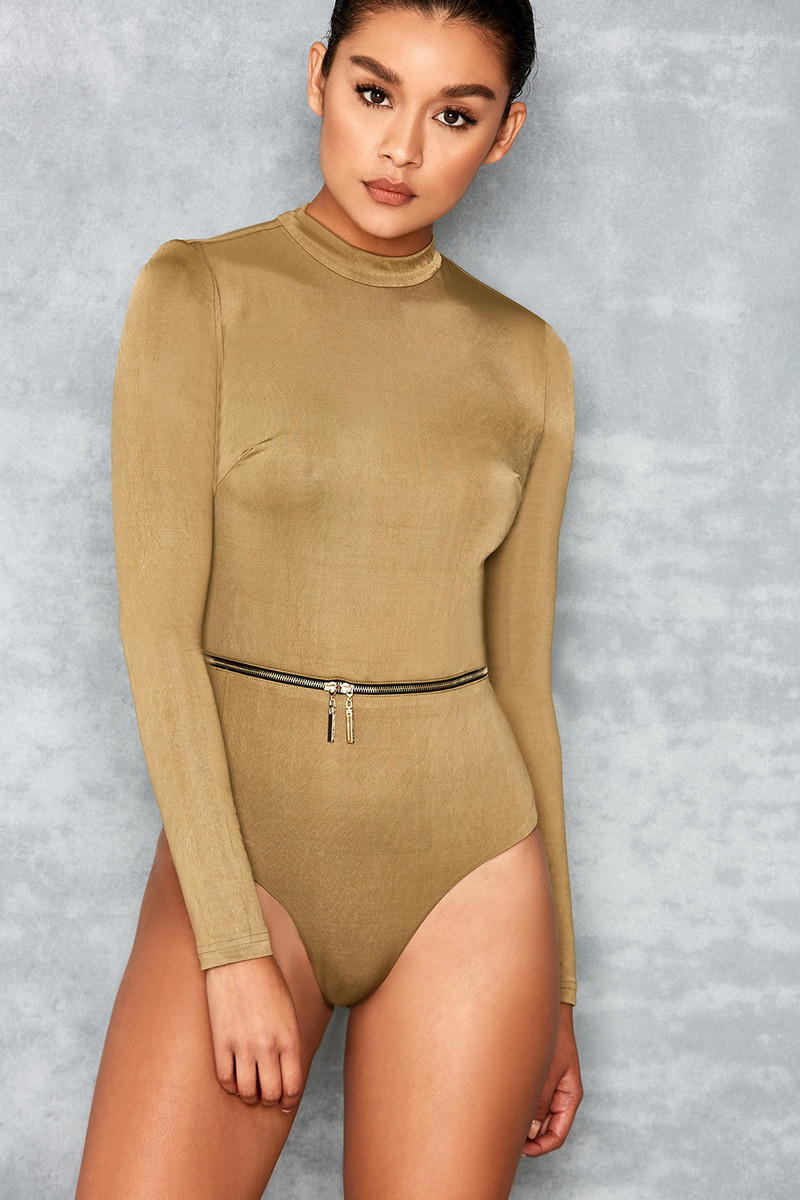 Guest List Khaki Long Sleeve Silky Jersey Bodysuit