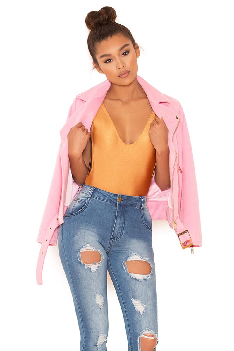 Keep Up Pink Wool-Mix Oversized Bomber Jacket