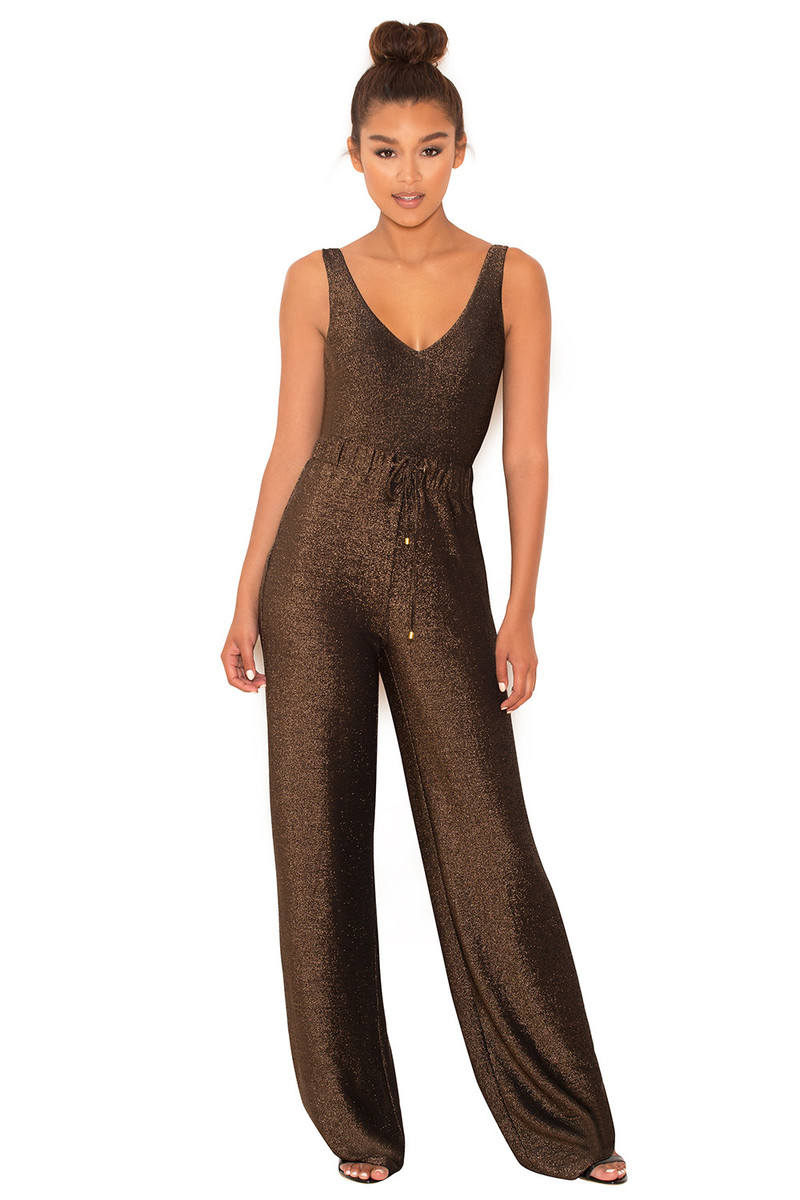 Pushing Limits Brown Knit Lurex Jumpsuit