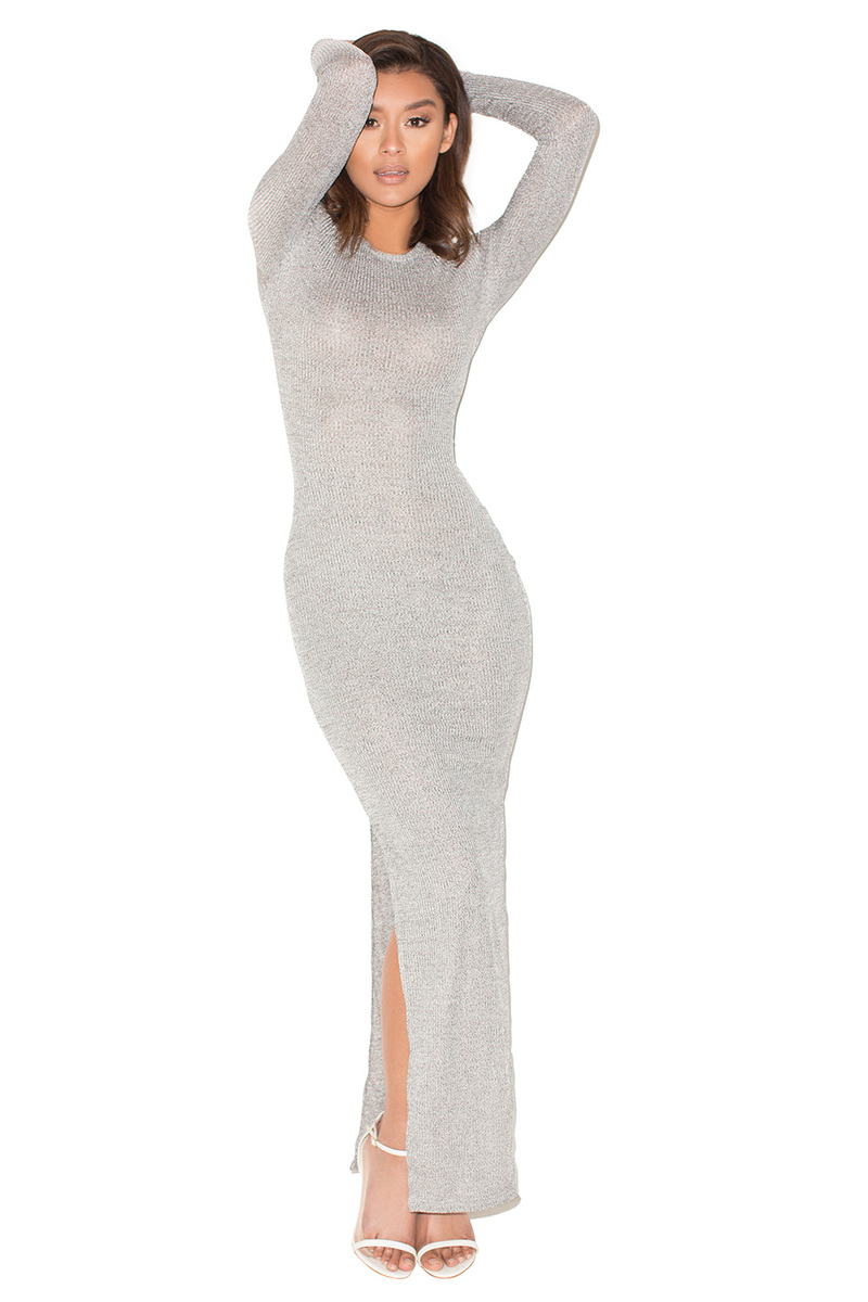 Scouted Grey Ribbed Maxi Dress