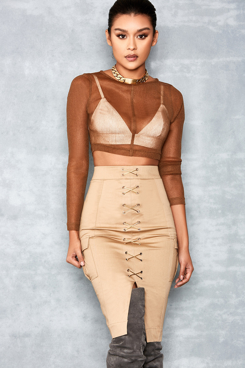 Shine On Tan Sheer Mesh Cropped Top