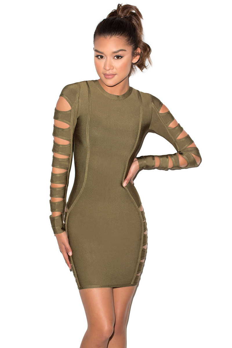 Sorcery Khaki Cut Out Bandage Dress