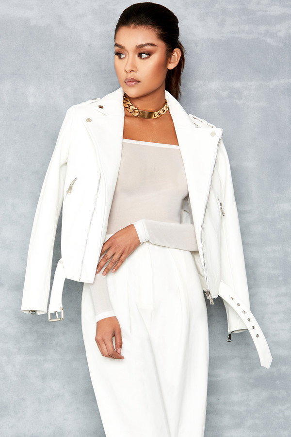 Enamoured White Vegan Leather Biker Jacket