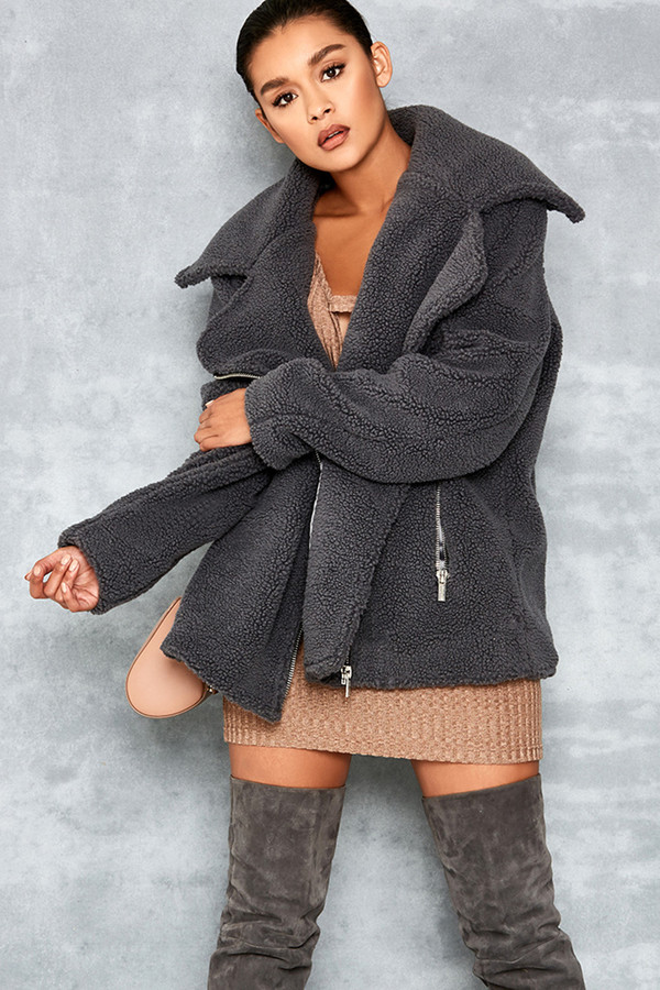 Carried Away Grey Sherpa Faux Fur Biker Jacket
