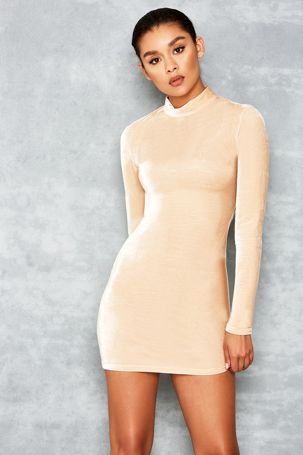Crash Cream Velvet Bodycon Dress