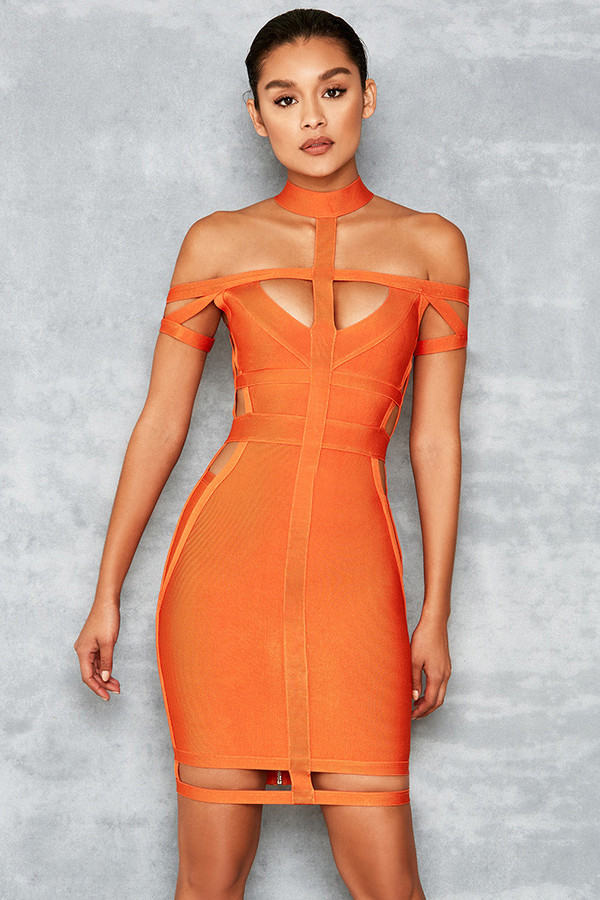 Envy Orange Cut Out Bandage Dress