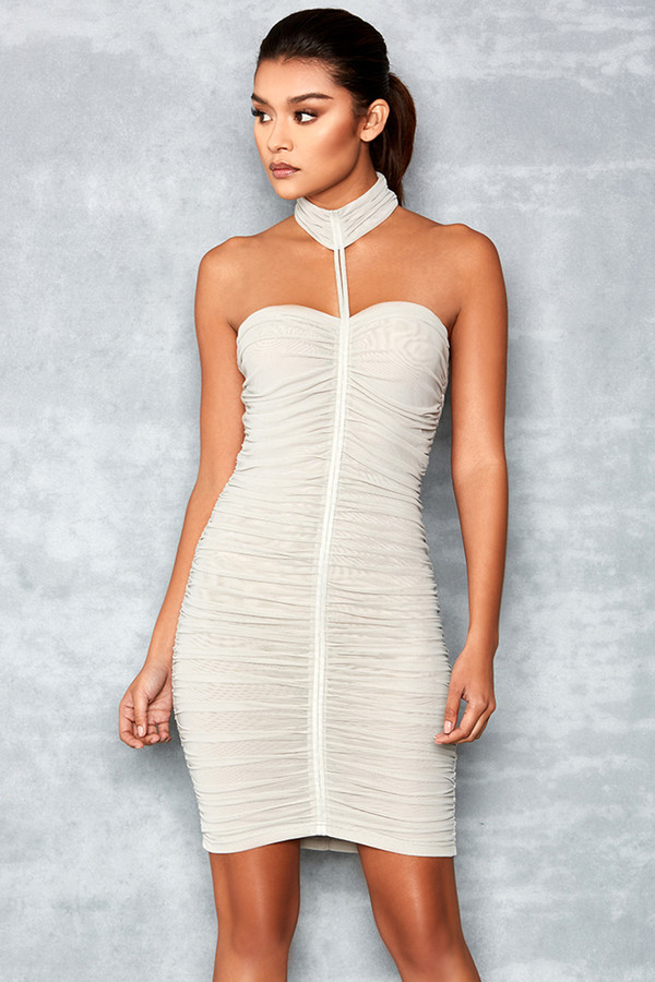 Ever Mine Grey Mesh Jersey Ruched Dress