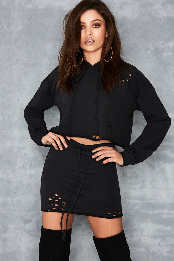 Intensity Black Cropped Hoodie & Mini Skirt Two Piece