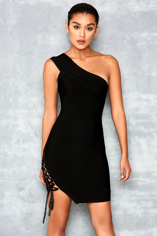 Kisses Black Bandage One Shoulder Dress