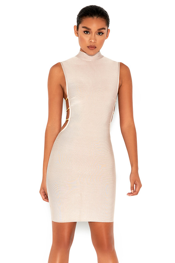 Mock Up Nude Side Boob Bandage Dress
