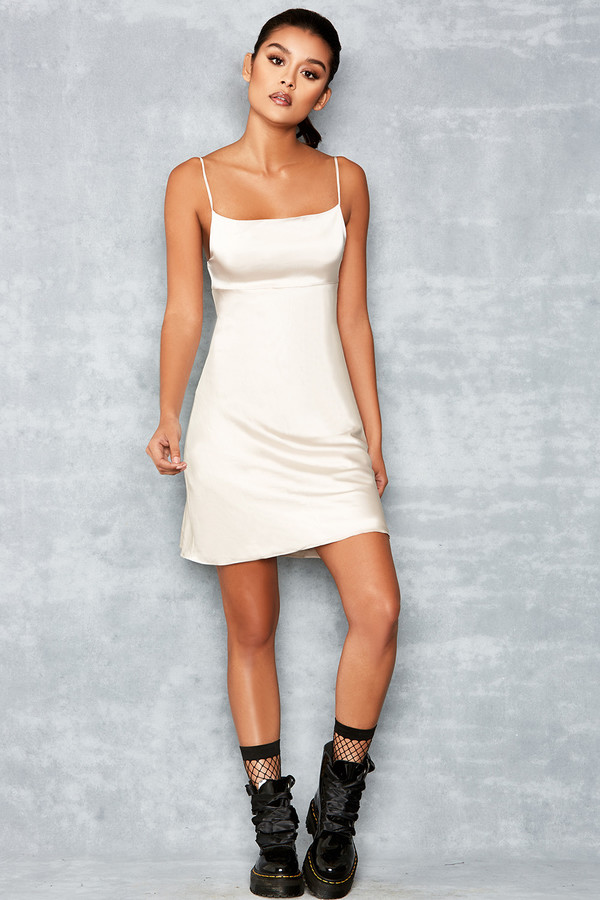 Rapture Nude Skinny Strap Satin Slip Dress
