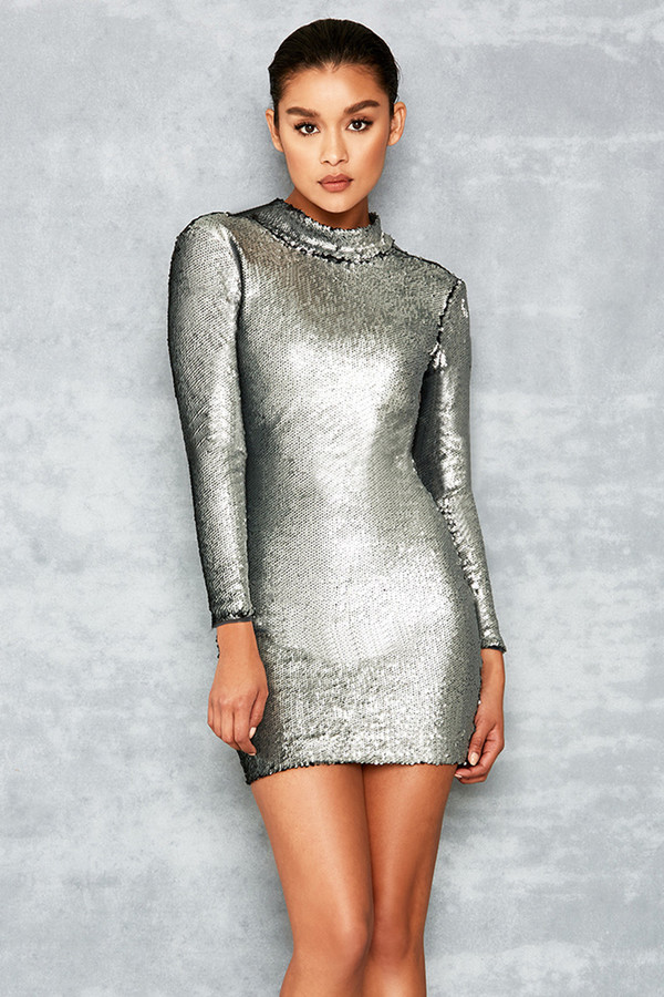 Starlight Silver Sequin Backless Dress