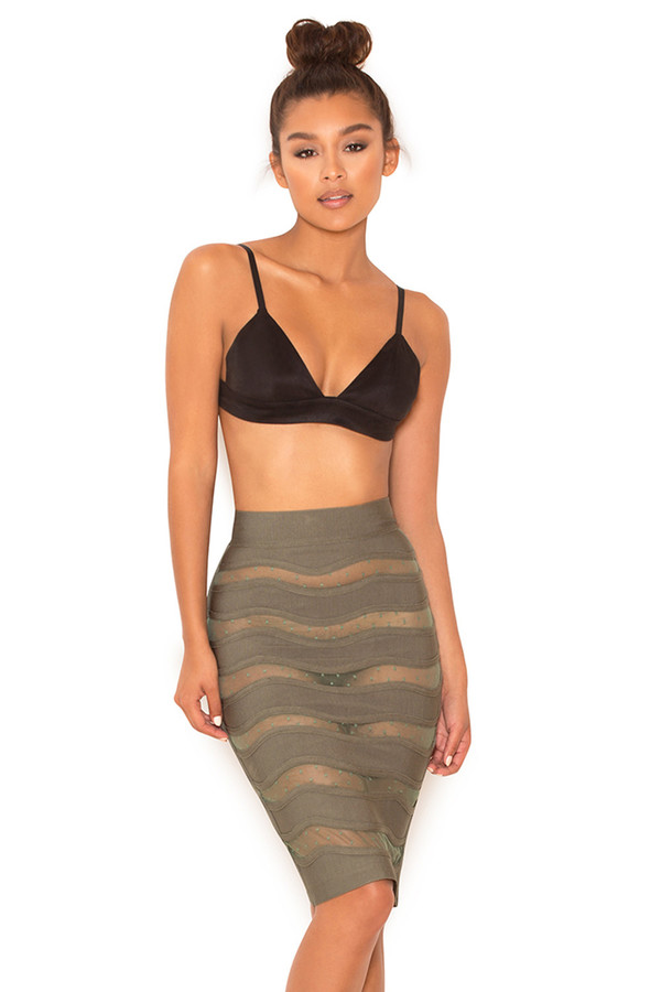 Sugar Plum Khaki Bandage and Mesh Pencil Skirt