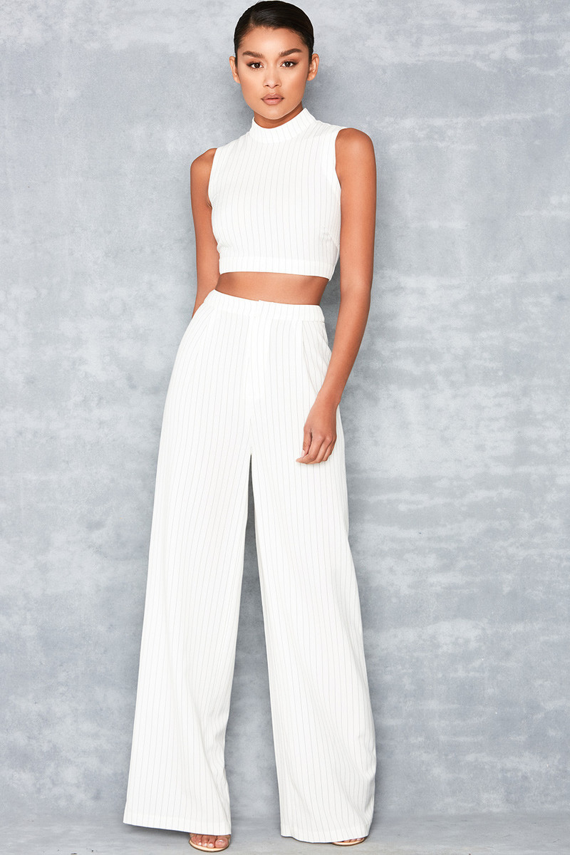 Lift Off Black and White Pinstripe Two Piece Trouser Set