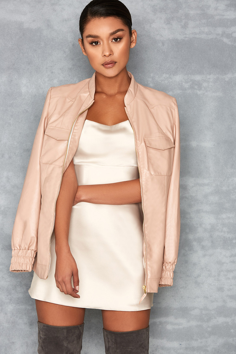 Cascade Nude Vegan Leather Zip Front Jacket