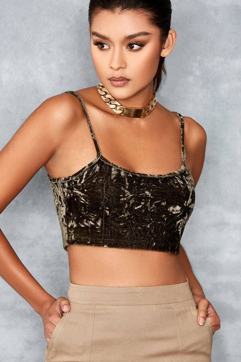 Covet Olive Green Crushed Velvet Crop Top