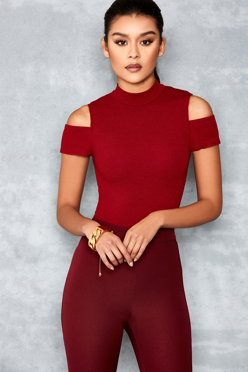 Curve Deep Red Off Shoulder Bodysuit
