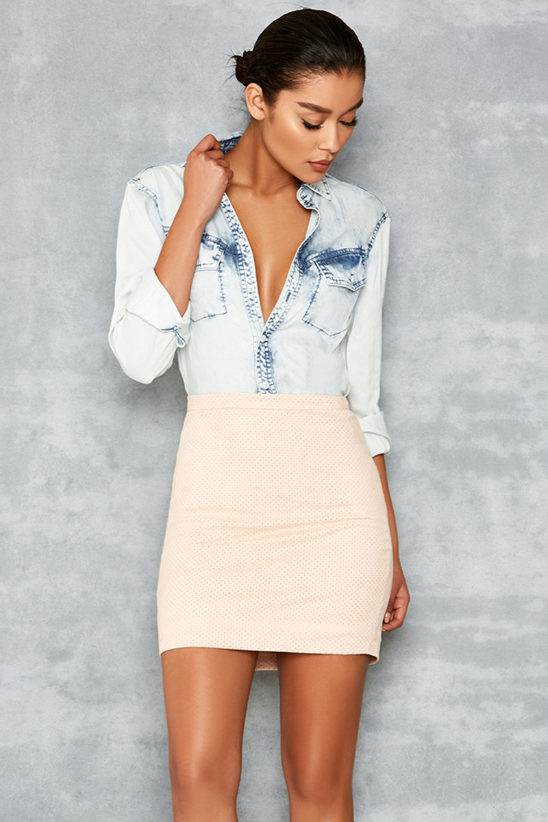 Elevate Nude Perforated Suedette Mini Skirt