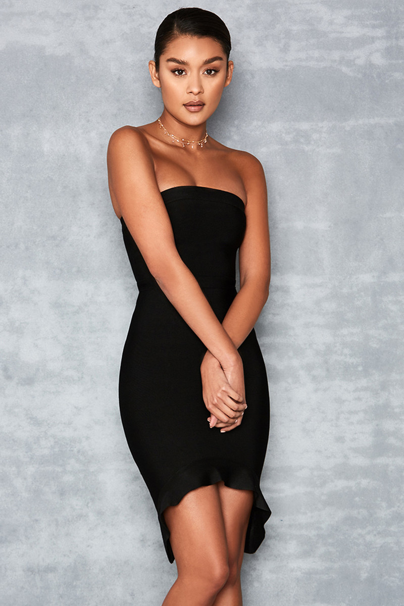 'Elfin' Black Strapless Fluted Hem Bandage Dress