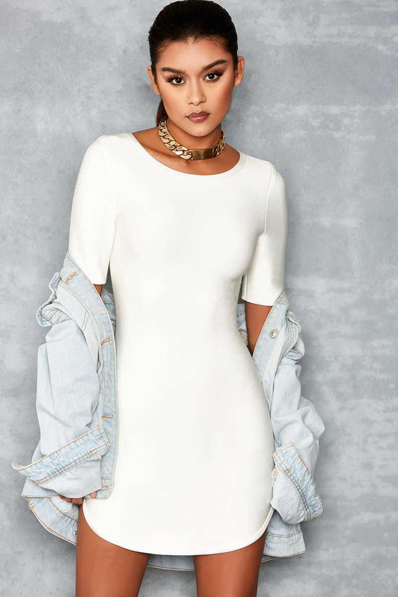 'Enchant' White Bandage Curve Hem Mini Dress