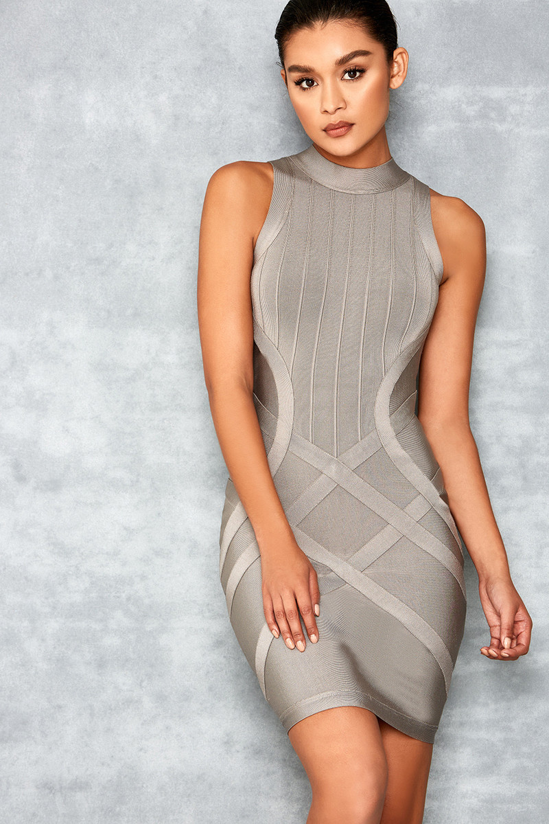Fairy Story Grey Sleeveless Bandage Dress