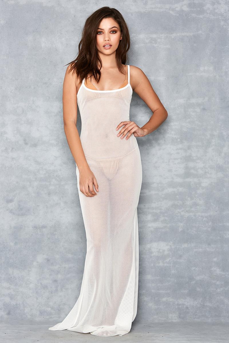 Gossamer White Sheer Fishnet Maxi Dress