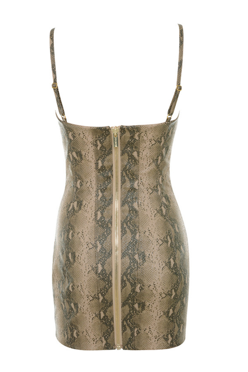 groupie dress in snakeskin