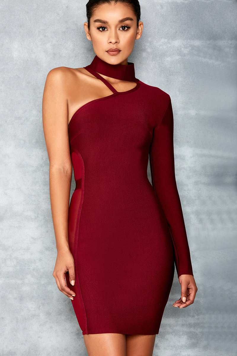 Heavenly Wine Bandage and Mesh Dress