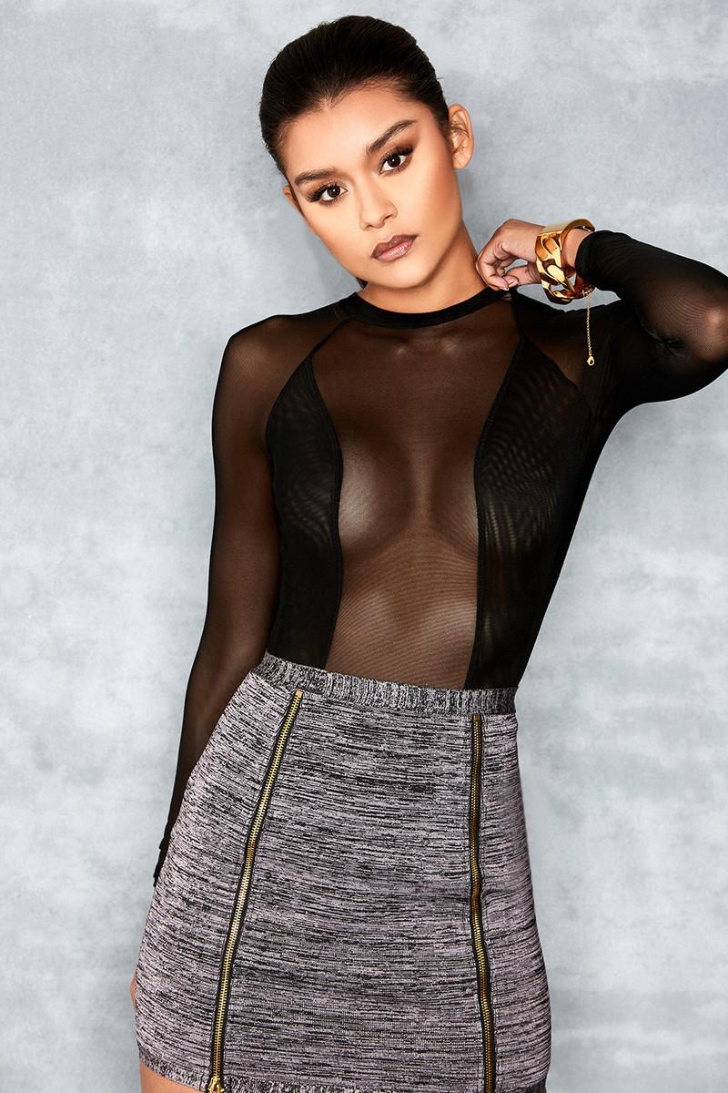 High Black Open Back Sheer Mesh Bodysuit