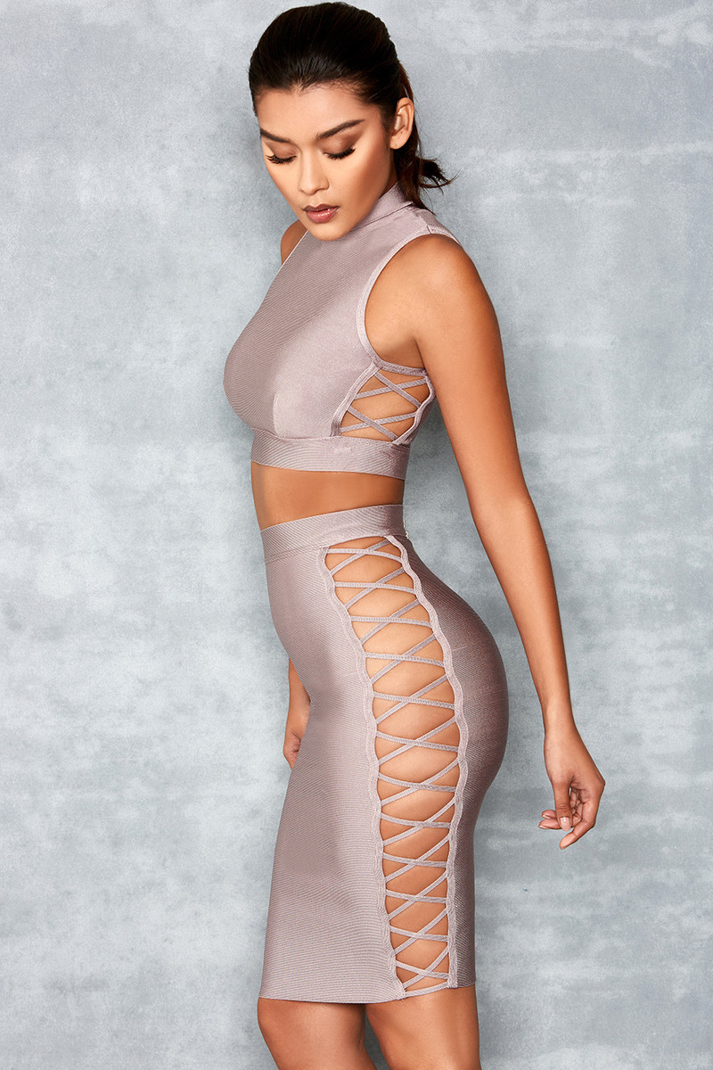 Innocent Mauve Bandage Two Piece with Side Lace Up