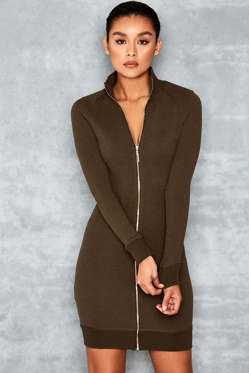 Long Haul Skinny Rib Knit Long Sleeve Dress
