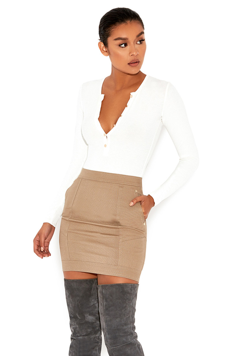'Move On' Stone Twill Mini Skirt
