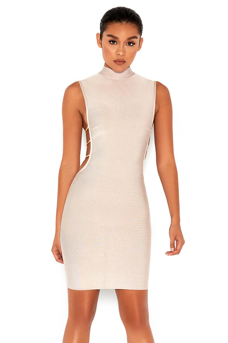 Mock Up Nude Side Boob Bandage Dress