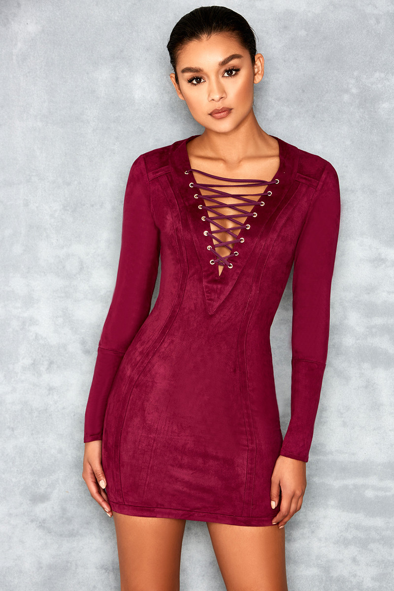 Sacred Mulberry Stretch Suedette Lace Up Dress