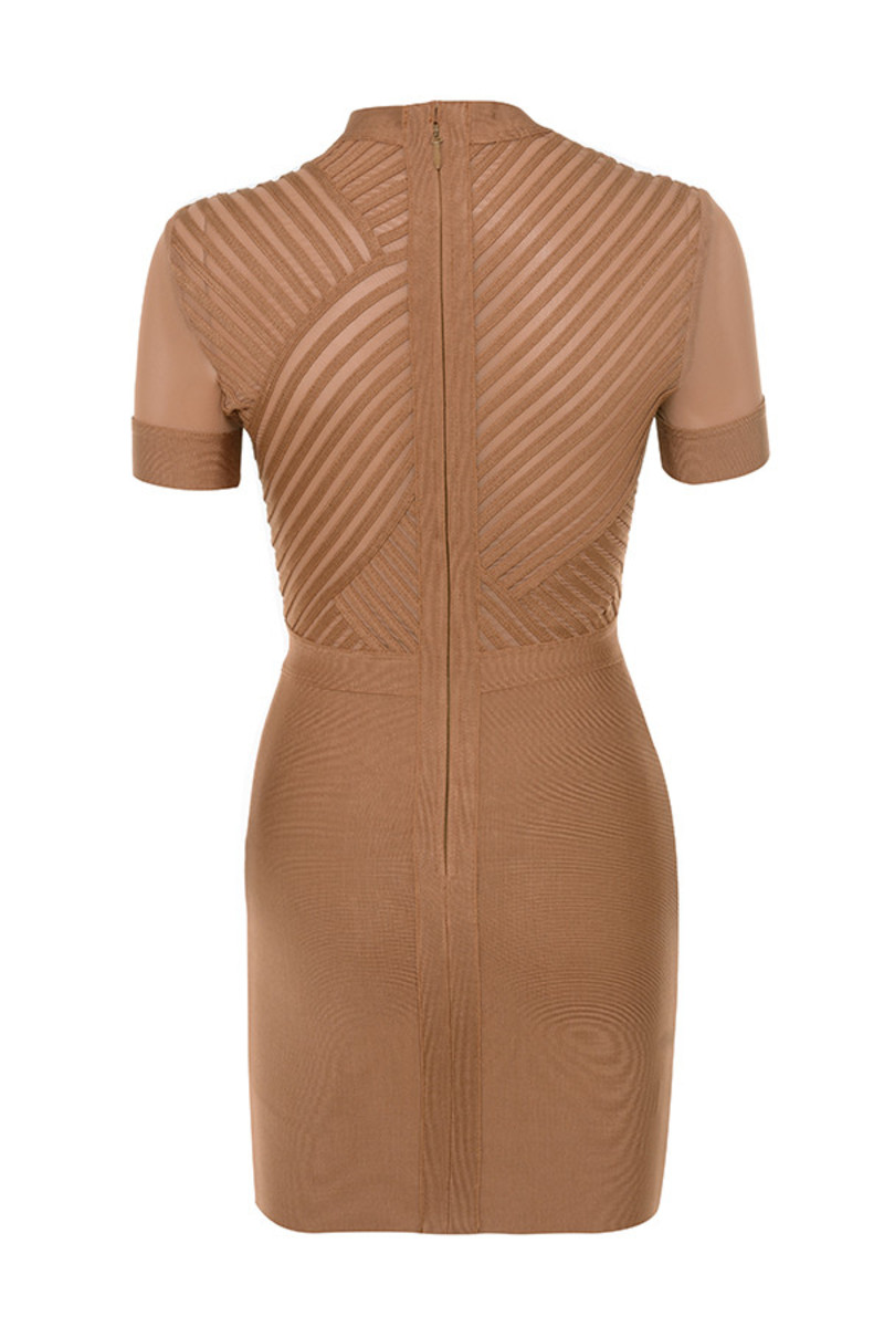 touchdown dress in tan