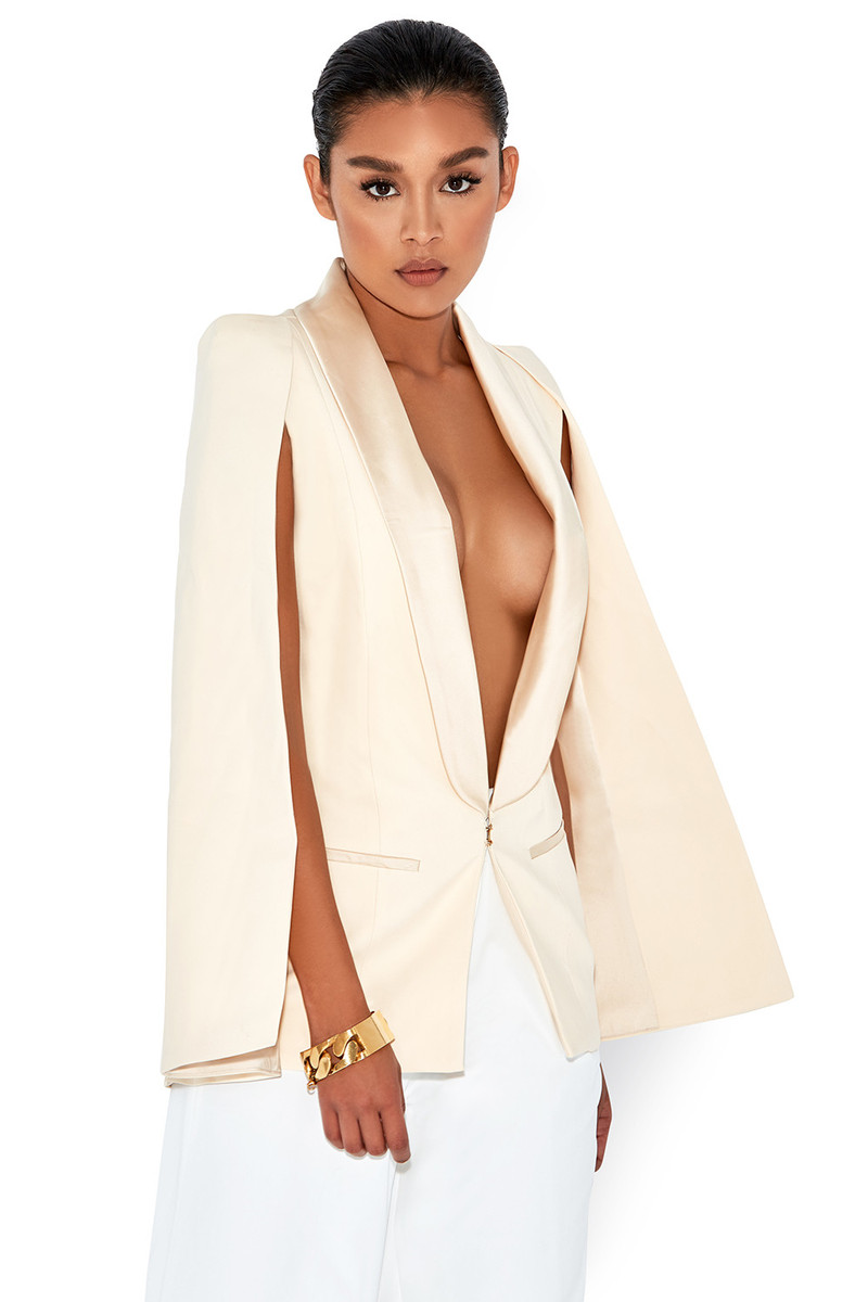 Wing It Cream Cape Blazer