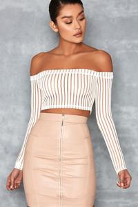 Devoted White Striped Mesh Off Shoulder Top