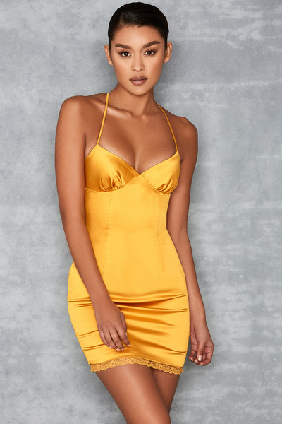 Courtesan Mustard Satin Midi Dress