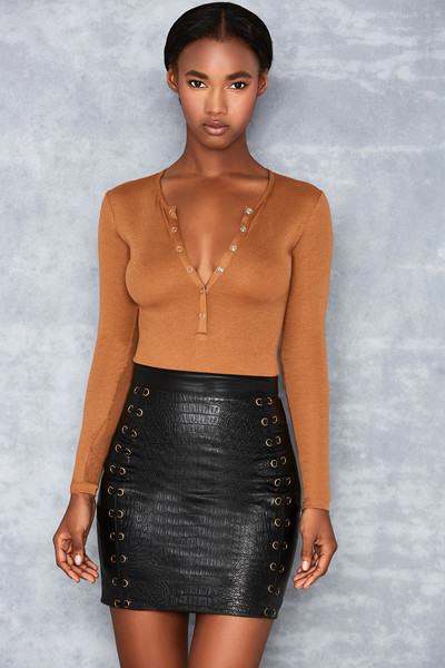 Elysium Caramel Rib Jersey Bodysuit