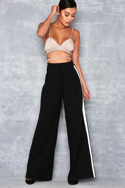 Casino Black Side Stripe Wide Leg Sweatpants