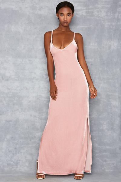 Summer Loving Pink Velvet 90's Style Slip Dress
