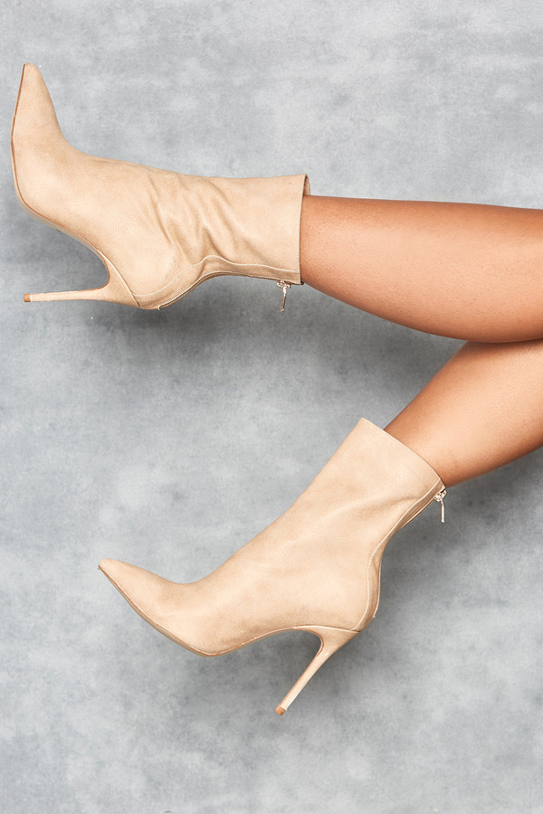 Spectre Tan Suede Stiletto Ankle Boots