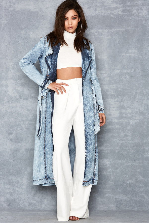 Escape Washed Denim Trench Coat